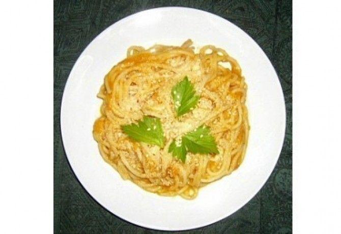 Sütőtökös-sajtos spagetti 2. - sütőtökkrémlevesből