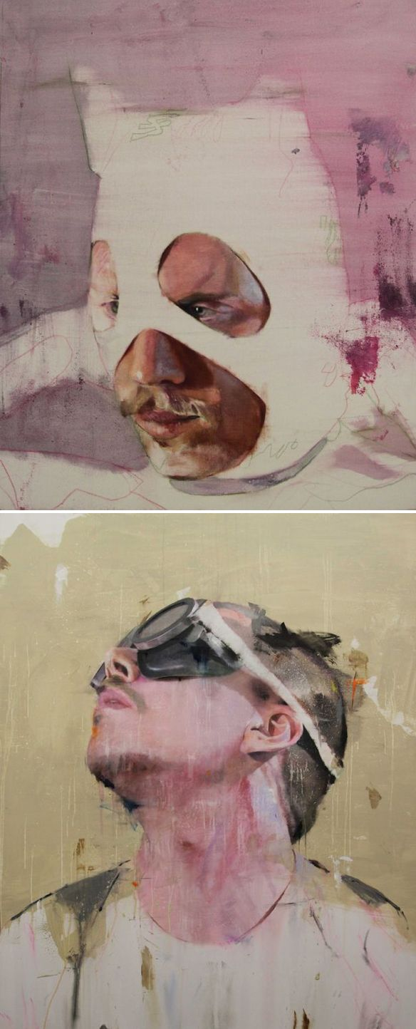 Paris based artist Lou Ros I found myself totally drawn to the pinky-hued, goggle-wearing men in his portfolio {I think they might be self-portraits}. Sort of strange, and totally beautiful at the same time.
