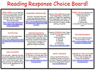 The Organized Chaos Of Instruction: Reading Response Choice Board All-in-One