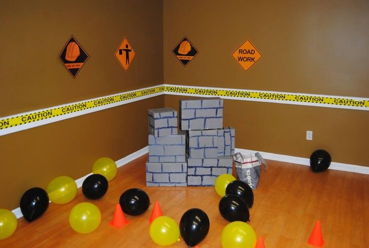 Demolition wall from Brayden's 3rd birthday. Different size boxes painted.
