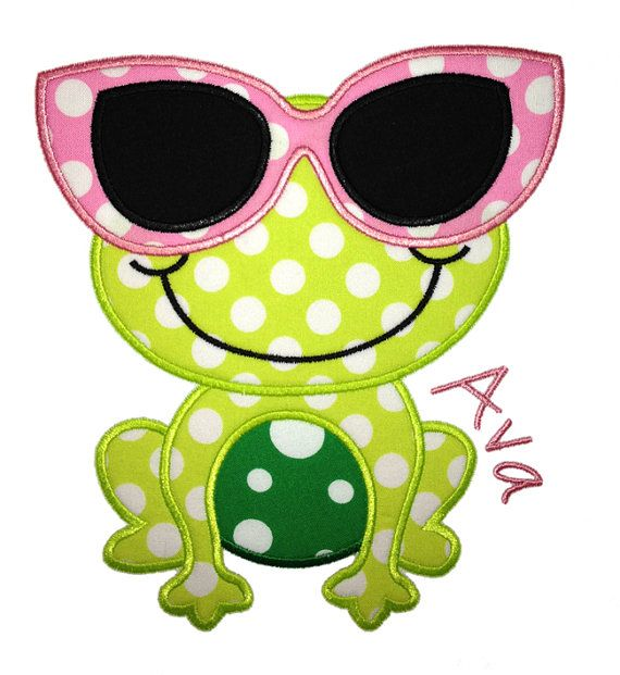 Frog with Glasses Applique Design by AppliqueChick on Etsy, $4.00
