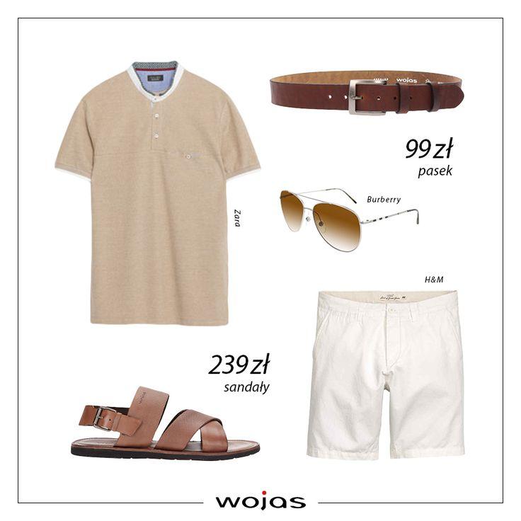 Beżowy t-shirt w kolorze ecru i białe szorty to idealna stylizacja na letni spacer! Brązowe sandały Wojas (https://wojas.pl/produkt/24427/sandaly-meskie-5302-53 ) oraz pasek (https://wojas.pl/produkt/20963/pasek-meski-5971-92 nadają stylizacji casualowego charakteru.