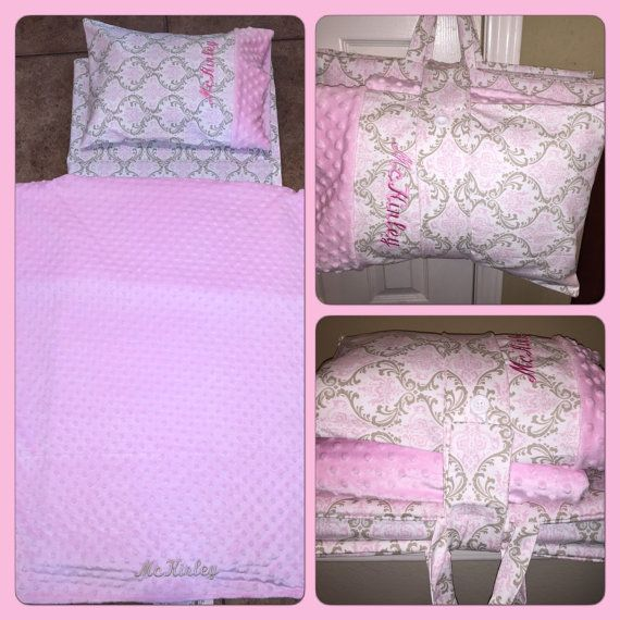 Kinder Mat Cover with Monogrammed Pillow and Minky by ComfyNapMats
