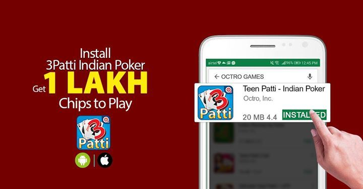 Play 24*7 Live 3-Patti on world's #1 Teen-Patti App. Get Daily Free Chips & million of live players to beat. Install Now ➡️ http://m.onelink.me/8da2f756