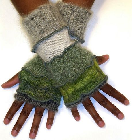 Repurposed wool sweaters become fingerless gloves