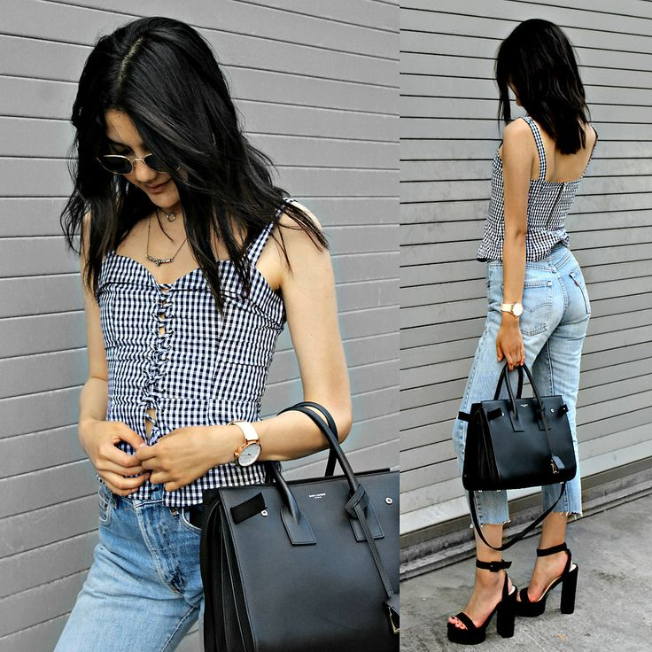 I dressed up a regular summer outfit with these super high platform sandals! I love the vintage vibe of the cutoff jeans mixed with the gingham print.