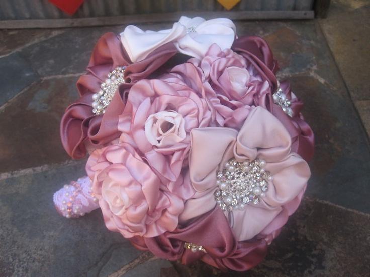 $200 WEDDING BRIDAL BOUQUET FABRIC VINTAGE STYLE PINK SATIN, LACE, PEARLS & DIAMANTES | eBay