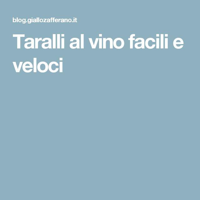 Taralli al vino facili e veloci