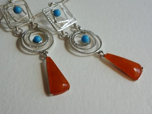 Sterling silver earrings with Baltic amber and turquoise beads Design&Handmade by K.Tokar