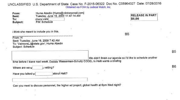 JUDICIAL WATCH cheryl mills personal email #6 DEBBIE WASSERMAN SCHULTZ BRIEFIN ON HAITI