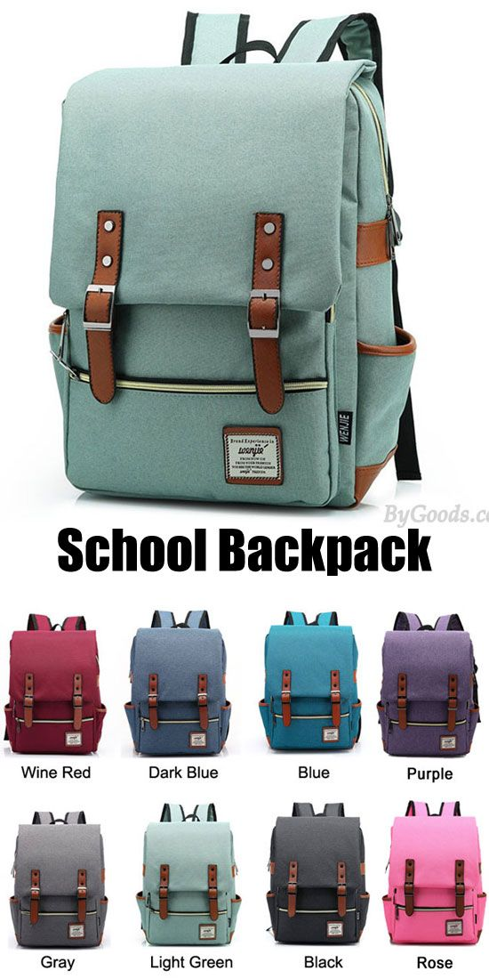 Which color do you want? I like the gray and light green. Retro Large Travel Backpack Leisure Leather Canvas Backpack Schoolbag #backpack #bag #rucksack  #cute #canvas #school