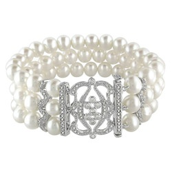 ****Miadora Sterling Silver Freshwater Pearl and Cubic Zirconia Bracelet (6.5-7 mm)