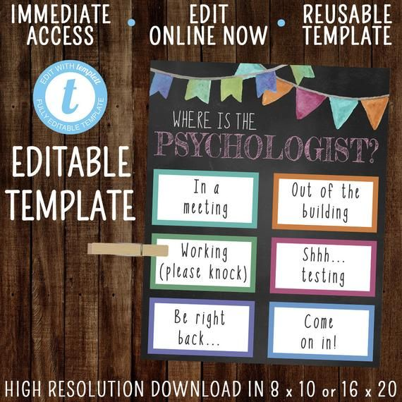 Editable Where Is The Psychologist Template Office Door Sign Etsy In 2021 Notes Templates Office Door Signs Teacher Templates