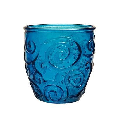 French Home Mediterranean Wave 8-ounce  Ice Clear Wine Tumbler Color: Cornflower Blue