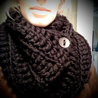 This is such a quick project and so warm and toasty! Until you button it up it IS kinda like a black hole. But the added button makes it fit nice and snug around your neck. Enjoy!