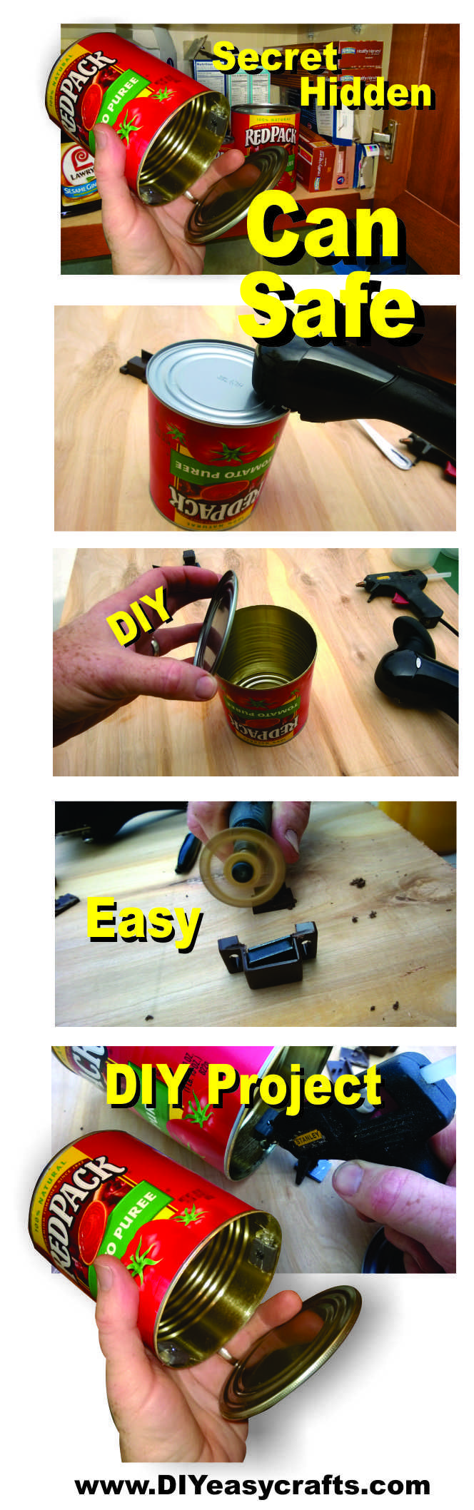 How to Make a easy DIY Secret Hidden Can Safe.  These hidden compartments make great hiding places for case, jewelry or even prescription medications. The look like any other can in the cabinet, basically hiding your valuables in plain sight. All you need to build this security secret compartment can, is a can of the desired size, a side cutting can opener, three cabinet magnets and a hot glue gun. Check out our other how to projects on the web http://www.diyeasycrafts.com/
