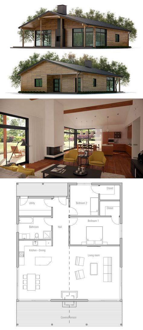 Small House Plan. PERFECT floor plan, but down size it! If at all possible cut 10' off the depth 6' off front, 2' each brm = 32'x36' ? Square off the back.