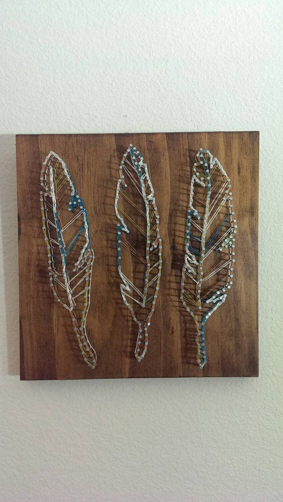 Feather Nail And String Art By Brokenwingarts On Etsy Home Crafts String Art Nail String