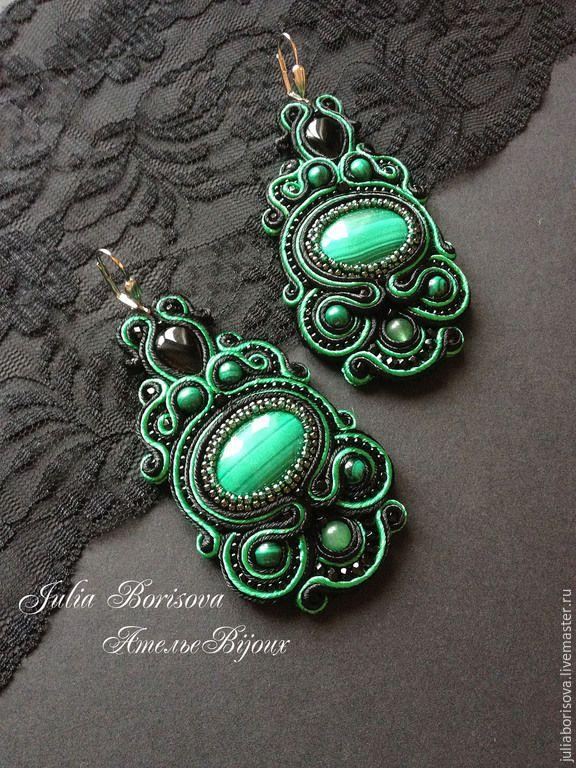 """Купить Серьги """"Тайны старого леса"""" - зеленый, черный, сутажные украшения, сутажные серьги"""