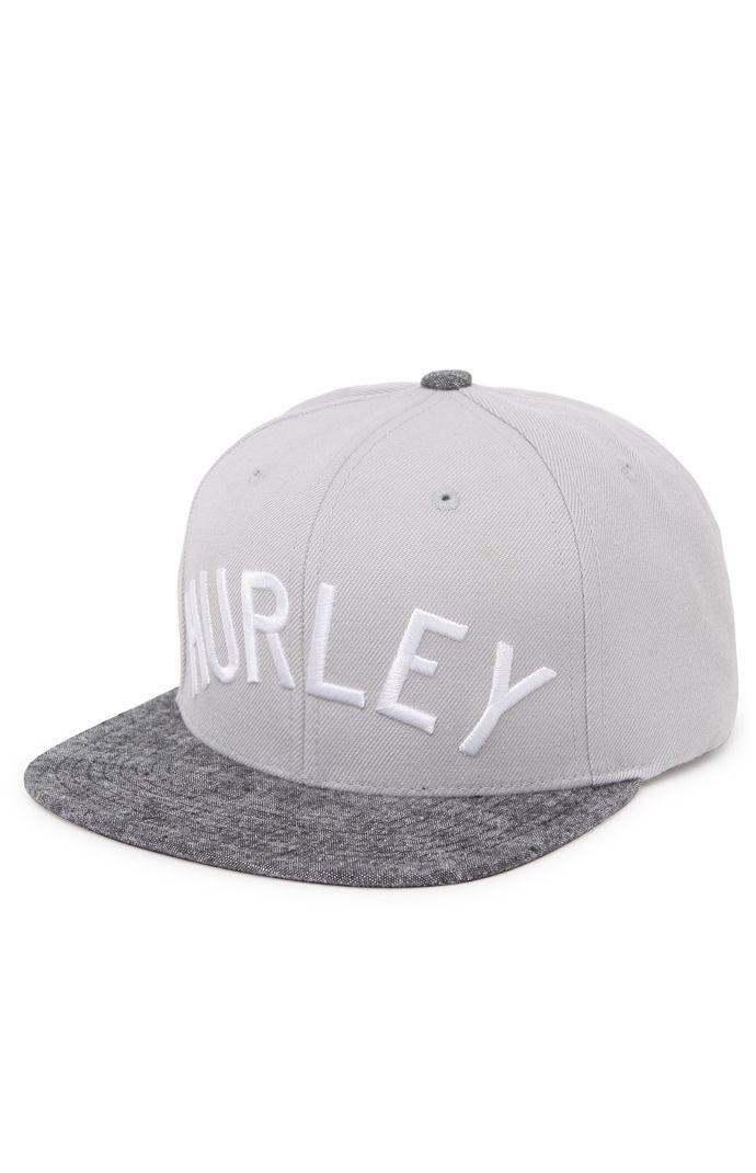 Hurley creates a trendy men's strapback hat found at PacSun. The Don Strapback Hat for men comes with a gray base, white Hurley logo on front, and charcoal chambray bill.	Hurley logo on front	Raised embroidery	Stiffened front	Black adjustable strapback with logo loop	Flat bill	One size fits most	Spot clean	60% acrylic, 20% cotton, 20% wool	Imported