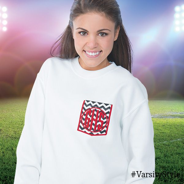 Get the all new customize-able Crew Neck Team Sweater with available monogram too! Get it from Varsity today!  #VarsityFashion  http://Varsity.com