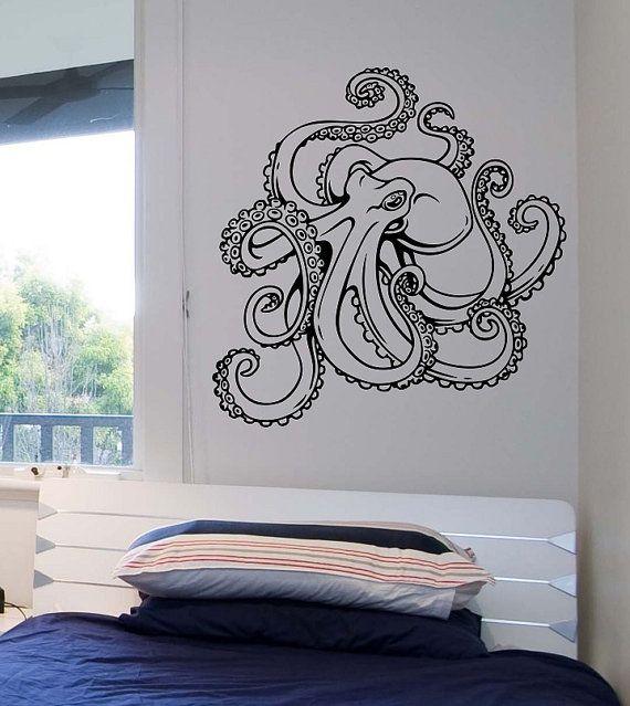 octopus wall decal version 2 vinyl sticker art decor bedroom design mural interior design animals marine