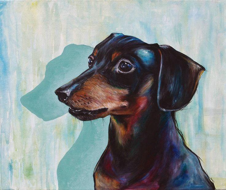 Blog de Icat - Graffiti, Decoración, Pintura Mural, Diseño, Ilustración, Stencil, Pegatinas, Pintura: Retrata a tu mascota by Icat: Retrato Dachshund o perro salchicha - Acrílico