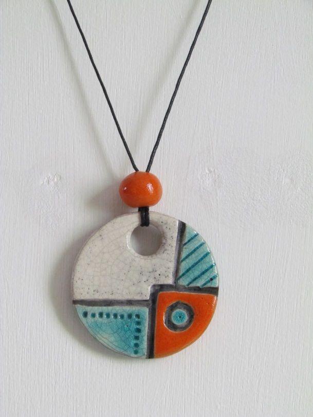 pendentif raku bijoux céramique grès Danièle MEYER
