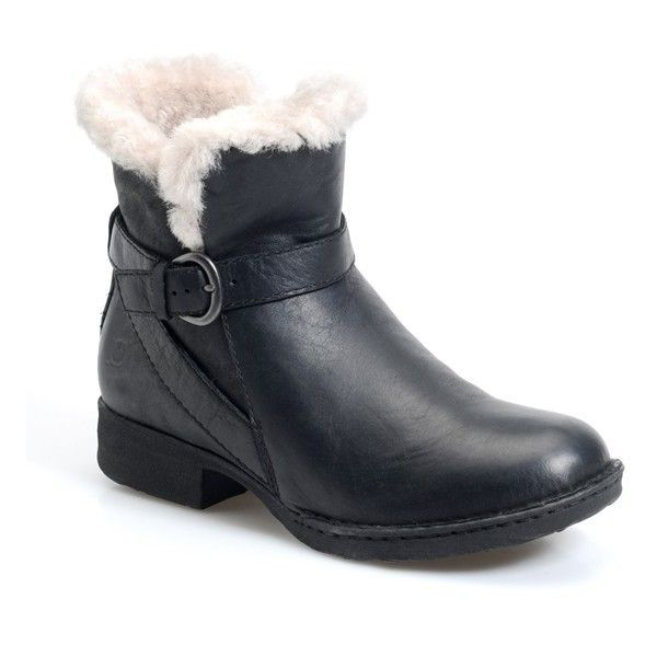 """Born 'Kaia' Round Toe Shearling Ankle Boot, 1"""" heel ($180) ❤ liked on Polyvore featuring shoes, boots, ankle booties, black shearling, black bootie, short heel boots, low heel ankle boots, shearling lined booties and ankle boots"""