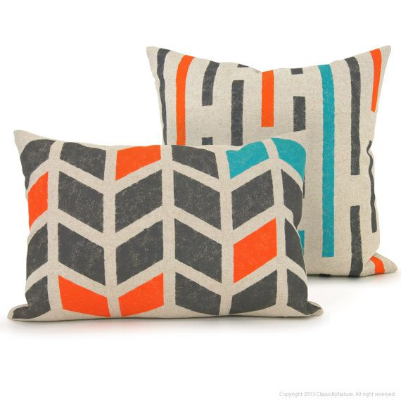 Chevron pillow - Hand printed decorative pillow with graphic arrows pattern in charcoal, orange and teal on beige canvas - 12x18 pillow case. $50.00, via Etsy.