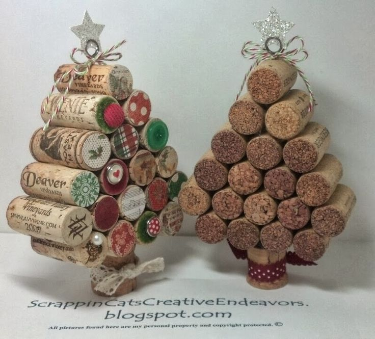 DIY Wine cork Christmas trees