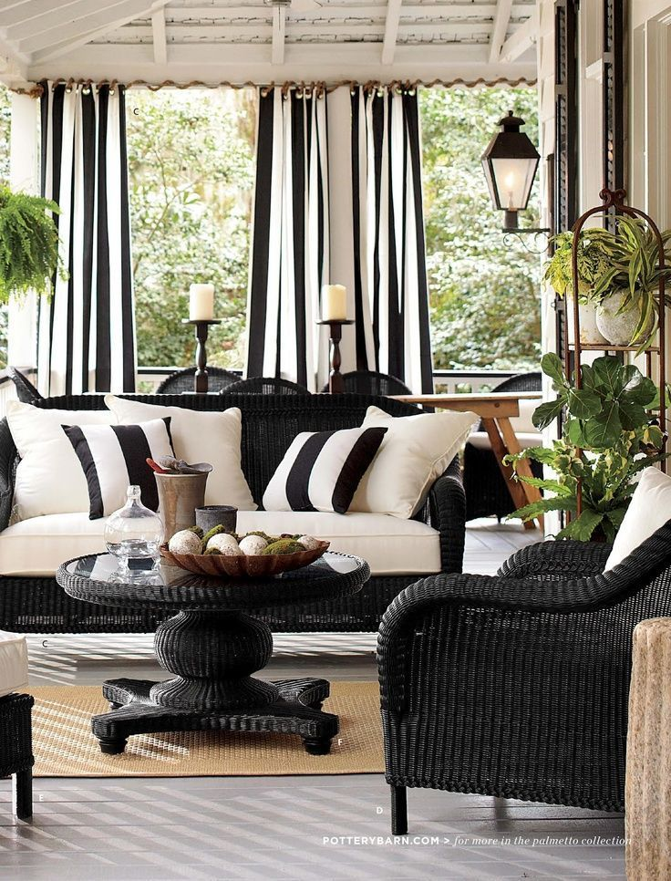 Black and white is dramatic in this outdoor living area in