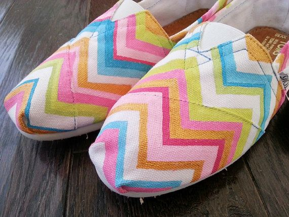 Painted Chevron TOMS Shoes by LaQuist on Etsy