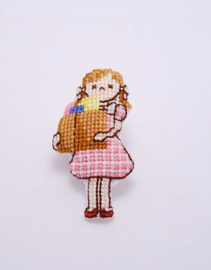 "Hand embroidered ""Lets go 4 shopping"" pin. Cute girl cross stitch Brooch. for teens. Pink brown. Bridesmaid gift. Mothers day. Party favor by MeandMamaCreations on Etsy"