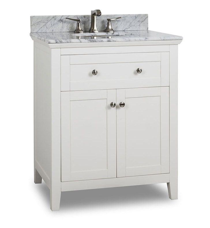Pictures In Gallery Ansen inch Bathroom Vanity White Finish Carrera White Marble Top Porcelein Bowl False front drawers open to reveal a large cabinet and the open bottom