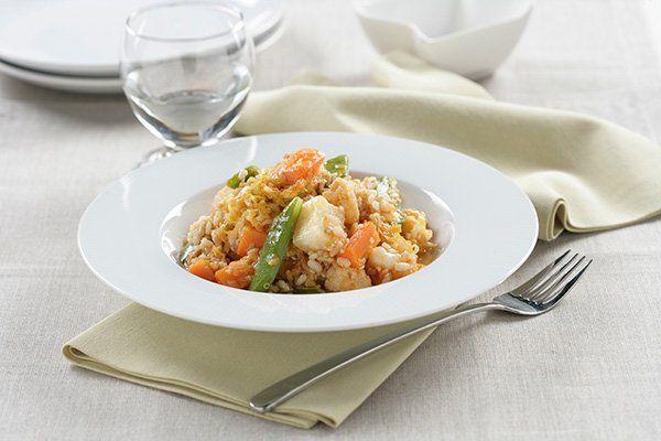 Aprende a cocinar un estofado de verduras con quinoa y arroz.