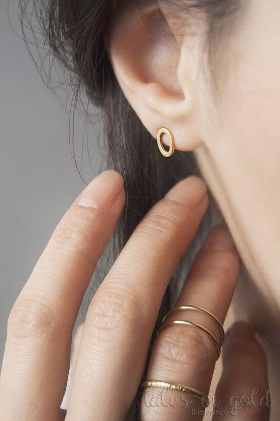 Oval Earrings Gold Earrings Stud Earrings Geometric by TalesInGold