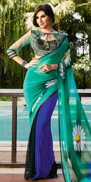 Luxurious Green And Multi-Color Georgette Saree.