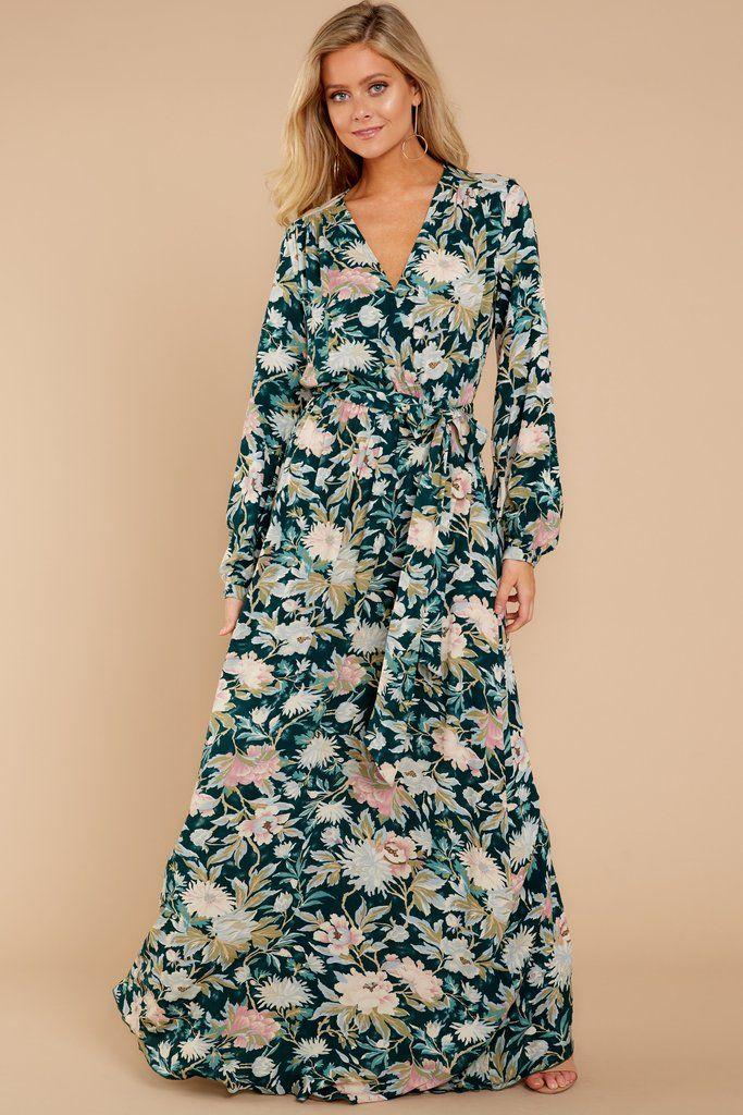 9d656fc467 Trendy Green Print Maxi - Cute Floral Maxi Dress - Maxi Dress - $56.00 –  Red Dress Boutique