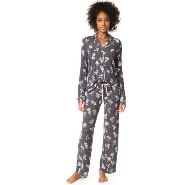 PJ Salvage Floral Seduction PJ Set ($99) ❤ liked on Polyvore featuring intimates, sleepwear, pajamas, p j salvage sleepwear, long sleeve sleepwear, long sleeve pajamas, long sleeve pyjamas and modal sleepwear