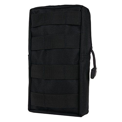 MOLLE Pouches - Compact Water-resistant Multi-purpose Tactical EDC Utility Gadget Gear Hanging waist Bags(Vertical Rectangle Pouch ,Black ) ** You can find more details by visiting the image link.