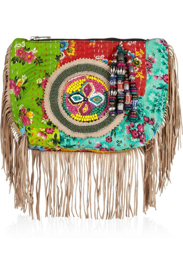 """...eclectic...embroidered & embellished cotton clutch..."" (Antik Batik)"