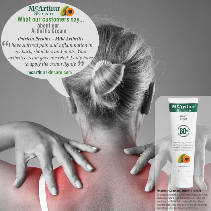 """What our customers say about our Arthritis Cream...  Patricia Perkins """"I have suffered pain and inflammation in my back, shoulders and joints. Your arthritis cream gave me relief. I only have to apply the cream lightly.""""  McArthur Skincare Arthritis Cream contains the active natural ingredients Aloe Vera, and Arnica which is traditionally used in herbal medicine for the relief of mild arthritis.  Always read the label. Use only as directed. If symptoms persist see your healthcare…"""