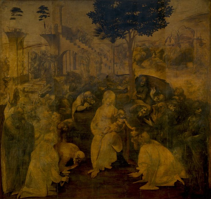 Leonardo da Vinci The Adoration of the Magi, for Florence's San Donato, a Scopeto monastery (DaVinci's first commissioned work, begun around 1482, never finished.