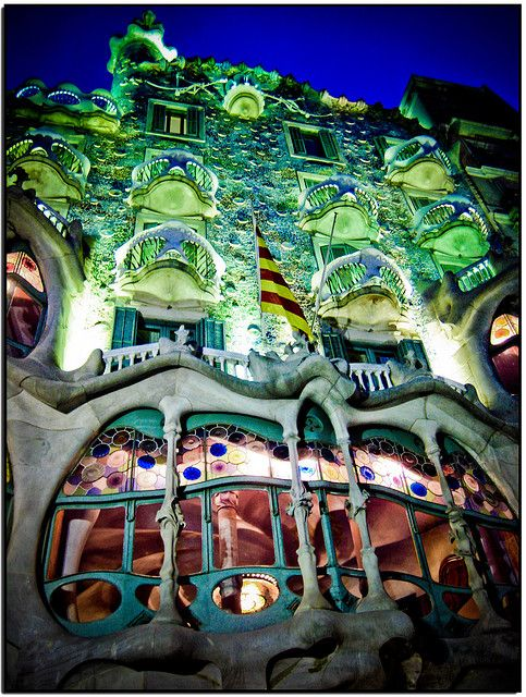 Casa Batlló at night, Barcelona- I got to see this beautiful building in my travels to Spain.