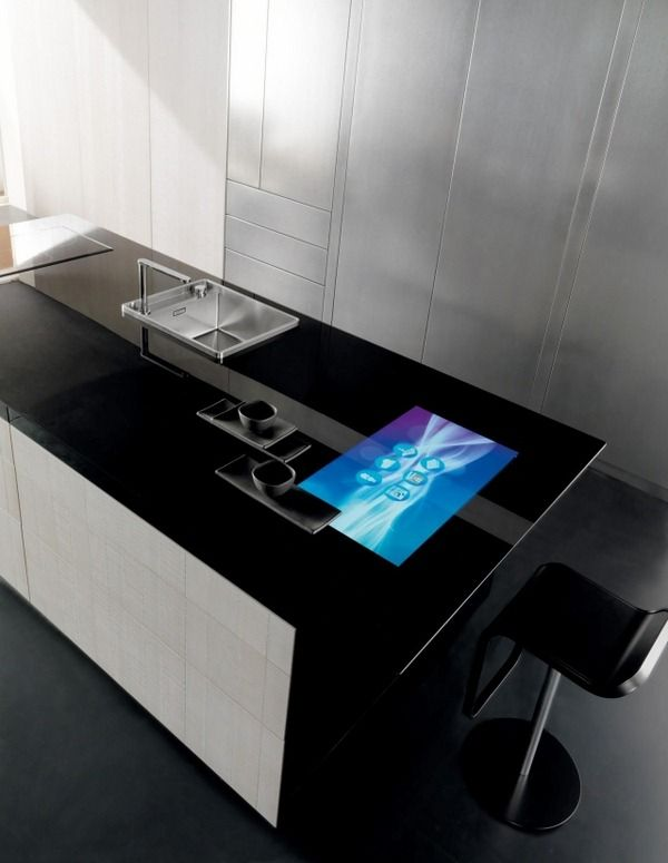 Exceptional High Tech Carbon Fiber Kitchen Touchscreen Technology Countertop Cooking  Island