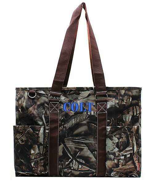 Monogrammed Camo Diaper Bag Brown 18 Large by GiftsHappenHere