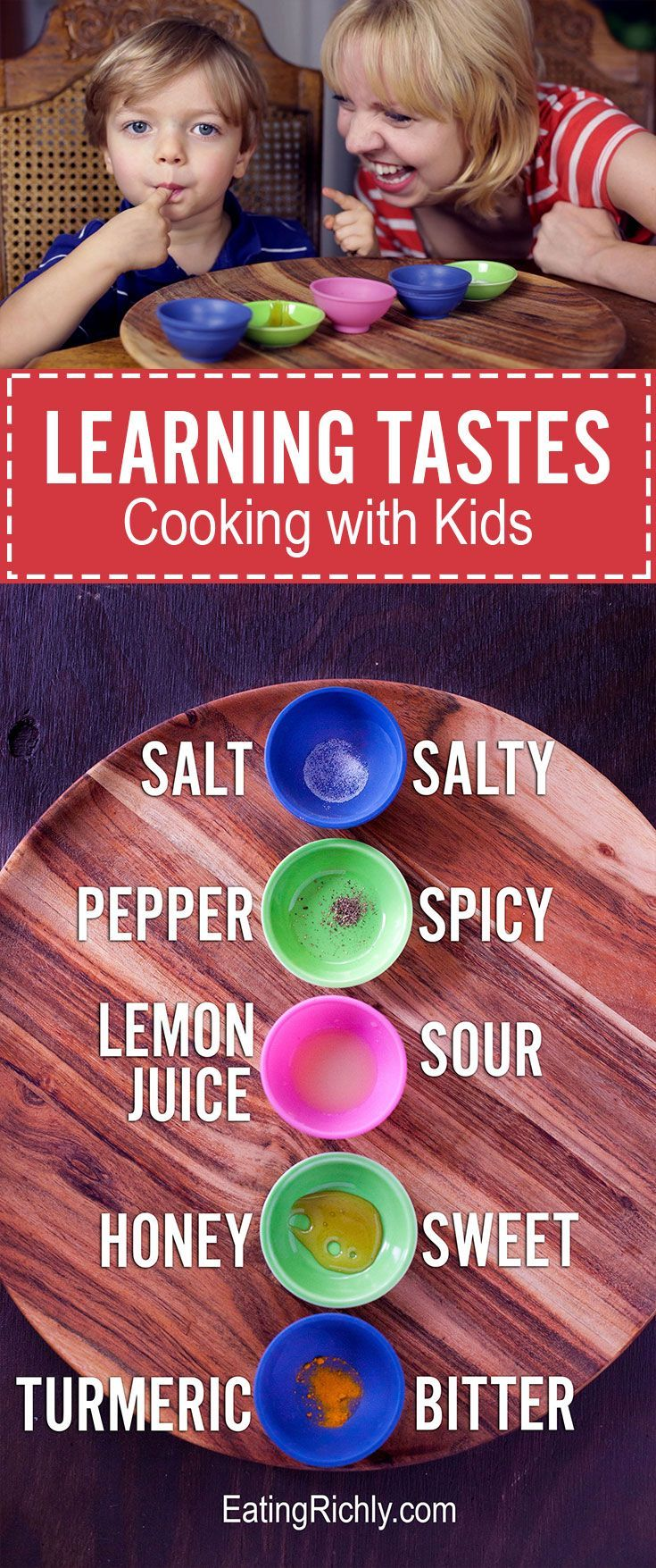 One of the best cooking games for kids uses simple ingredients to teach them about taste. Help your child develop their palate as they play! Part of #MiniChefMondays on http://EatingRichly.com