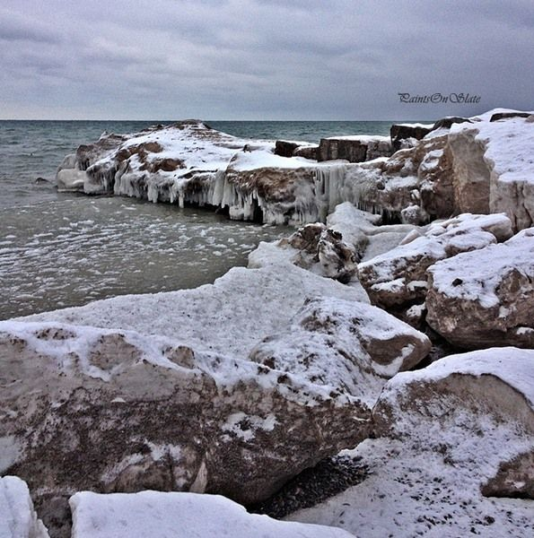 Lake Ontario never freezes but masses of ice grow at the edges.