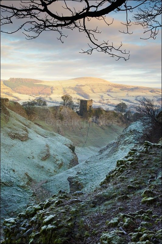 Peveril Castle - Peak District Winter Taken from Cave Dale looking towards Lose Hill.